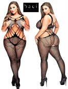 Baci Lingerie [ UK 16 - 22 ] Queen Size Black Criss Cross Style Open Bodystoc... - 173975403115